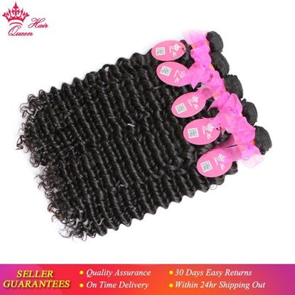 Picture of Queen Hair Products Brazilian Deep Wave Bundles Deal 3pcs/lot Natural Color 1B Hair Weave 100% Human Hair Weaving