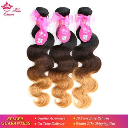 Picture of Queen Hair Products Ombre Color Hair Extensions Brazilian Body Wave 3 Tone #1B/4/27 Human Hair Weave 3pcs/Lot Bundles Deal