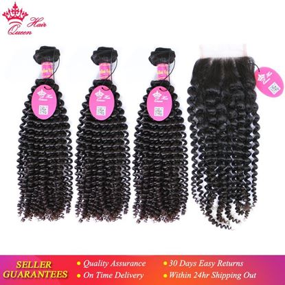 "Picture of Queen Hair Products Brazilian Kinky Curly Bundles With Lace Closure Free Part Virgin Human Hair 12"" to 28"" Natural Color"