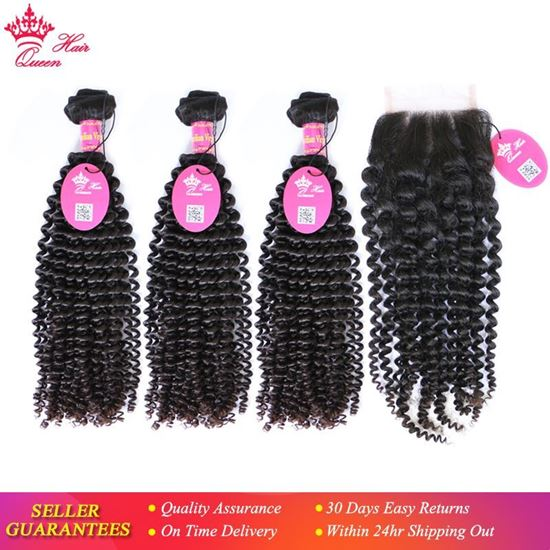 """Picture of Queen Hair Products Brazilian Kinky Curly Bundles With Lace Closure Free Part Virgin Human Hair 12"""" to 28"""" Natural Color"""