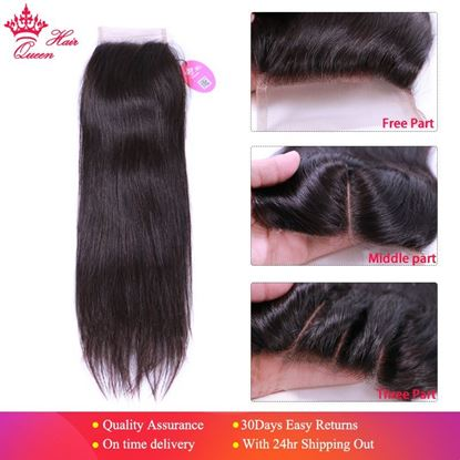 "Picture of Queen Hair Products Brazilian Virgin Hair Straight Top Swiss Lace Closure Natural Color 10"" to 20"" 100% Human Hair Free SHIPPING"