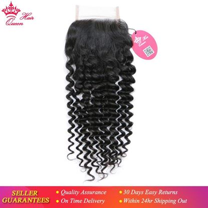 "Picture of Queen Hair Products Brazilian Virgin Hair Deep Wave 4x4 Swiss Lace Closure 10""-20"" Natural Color 100% Human Hair Free Part"