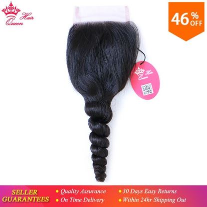 Picture of Queen Hair Products Brazilian Virgin Hair Swiss Lace Closure Loose Wave 100% Human Hair 4X4 Free Shipping