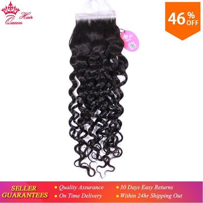 Picture of Queen Hair Products Lace Closure Brazilian Virgin Hair Water Wave Natural Color 100% Human Hair Free Part 4x4 Free Shipping