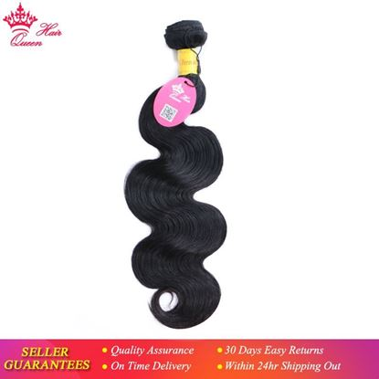 """Picture of Queen Hair Products Peruvian Virgin Hair Body Wave Bundles Natural Black Color 100% Human Hair Weaving 08"""" to 28"""" Free Shipping"""