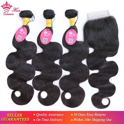 Picture of Queen Hair Products Peruvian Virgin Human Hair Body Wave 3 Bundles With Lace Closure Natural Color Free Shipping 4pcs/lot