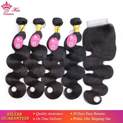 Picture of Queen Hair Products Peruvian Virgin Hair Body Wave 4 Bundles With Closure 100% Human Hair 5pcs/lot Bundles with Lace Closure