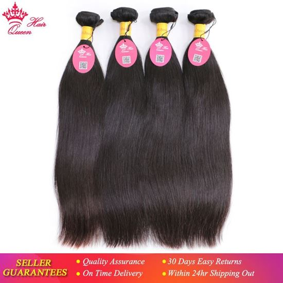 Picture of Queen Hair Products Peruvian Virgin Straight Hair 4pcs/lot 100% Human Hair Weaves Bundles Unprocessed Hair Weft Shipping Free
