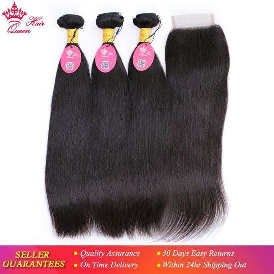 Picture of Queen Hair Peruvian Virgin Straight Hair 3 Bundles With Closure 100% Unprocessed Human Hair Weave Bundles With Lace Top Closure