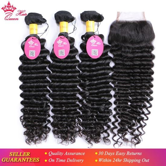 Picture of Queen Hair 100% Unprocessed Human Hair Peruvian Deep Wave Virgin Hair 3 Bundles with Lace Closure, Bundle with Closure 4pcs/lot