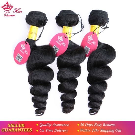 Picture of Peruvian Virgin Hair Loose Wave Bundles Thick Human Hair Weave Extension Natural Color Unprocessed Raw Hair Weaving Queen Hair
