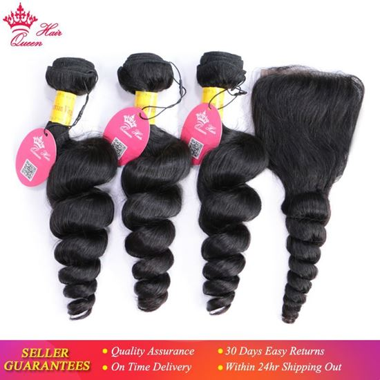 Picture of Queen Hair Peruvian Loose Wave 3 Bundles With Lace Closure 100% Unprocessed Virgin Human Hair Weave Extension 4pcs/lot