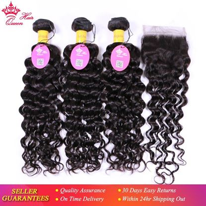 Picture of Queen Hair Water Wave Hair Bundles with Closure 100% Virgin Human Hair Bundles with Lace Closure Peruvian Hair Weave Bundles