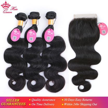 Picture of Queen Hair Products 4pcs/lot Indian Body Wave 3 Bundles With Closure 100% Human Hair With Closure Hair Weave Extensions