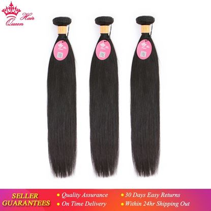 Picture of Queen Hair Indian Straight Hair Weave 3pcs Bundles Deal 100% Human Hair Extensions Hair Double Weft Natural Color 1B