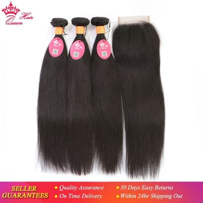Picture of Queen Hair Products Indian Straight Human Hair Bundles with Closure 3 Bundles With LacClosure Natural Color Hair Extensions