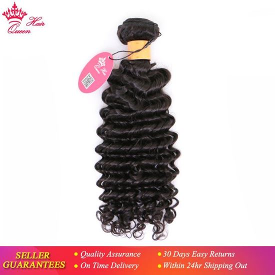 """Picture of Queen Hair Products Indian Deep Wave 100% Human Hair Bundles 10""""-30"""" Natural Color Weave Hair Free Shipping"""