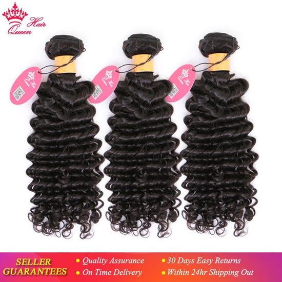 """Picture of Queen Hair 100% Indian Human Hair Deep Wave Bundles 3pcs/lot Weave Natural Color 1B Hair Extensions 10""""-30"""" Free Shipping"""