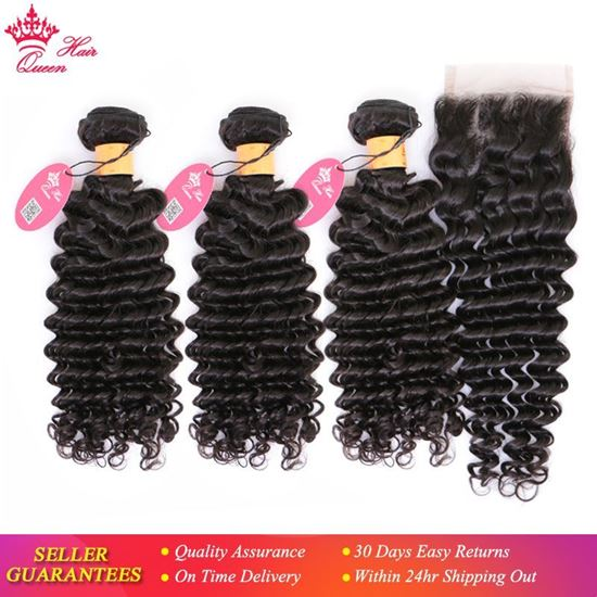 Picture of Queen Hair Products 100% Human Hair Bundles With Closure Indian Hair Deep Wave 3 Bundles With Lace Closure Natural Color