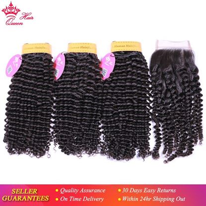 Picture of Queen Hair Extension 100% Human Hair Weave Bundles With Closure Indian 3 pcs Kinky Curly Bundles With Lace Closure
