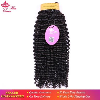 Picture of Queen Hair Products Indian Kinky Curly Extensions Human Hair Weaving Bundles Natural Color 1/3/4 Piece  Fast Free Shipping