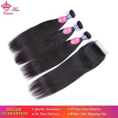 Picture of Queen Hair Malaysian Straight Hair Lace Closure with Bundles Virgin Human Hair with Closure Can Choose Free/Middle/Three Part