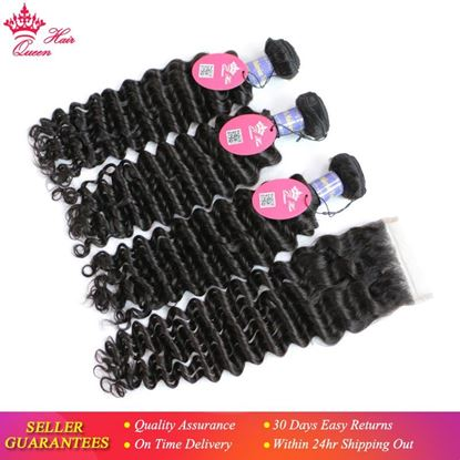 Picture of Queen Hair 3 Bundles Malaysian Deep Wave Hair with Lace Closure 4pcs Virgin Hair Deep Curly Wave Human Hair Bundles With Closure