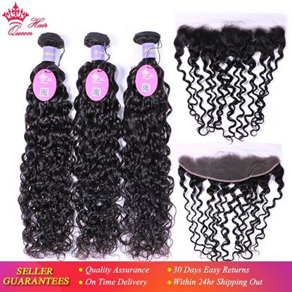 Picture of Queen Hair Malaysian Water Wave Bundles With Frontal Human Hair Bundles With Closure Virgin Lace Frontal Closure With Bundles