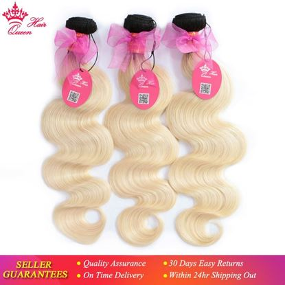 Picture of Queen Hair Products Ombre Brazilian Body Wave Bundles Deal 3pcs #1B/613 Ombre Blonde Remy Human Hair Extensions 12-20 Inches